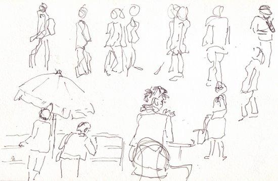 sketching moving people