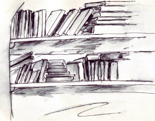 Books On The Bookshelf Sketches