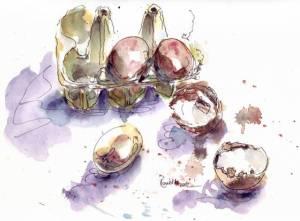 eggs in watercolour