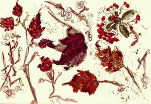 red leaves  in gouache 2