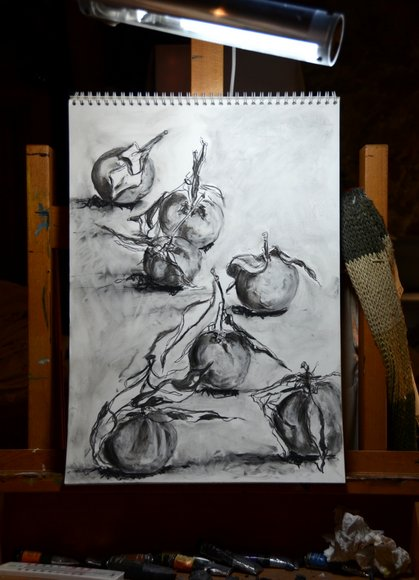 Clementines in charcoal 3116x4317