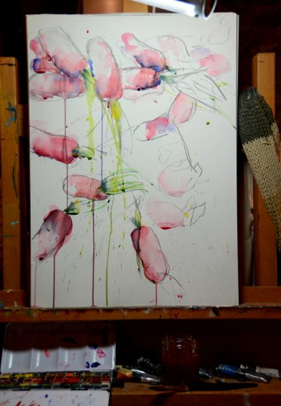 Radishes in watercolor and charcoal 3232x4683