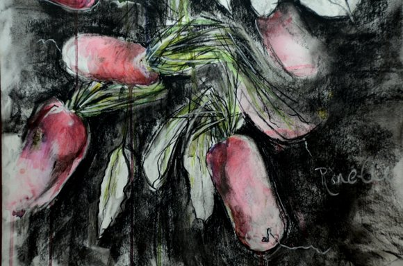 Radishes in watercolor and charcoal 4928x3264