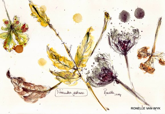 sketching -Autumn leaves 5
