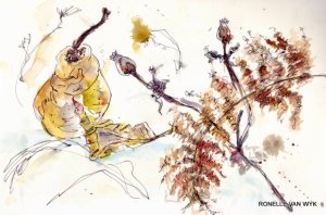 Sketching autumn leaves