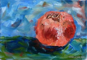 Ronelles art Pomegrante on blue