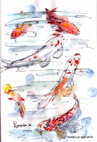 Ronelle van wyk- Koi fish in watercolor-002