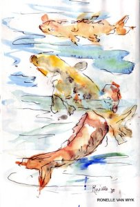 Ronelle van wyk- Koi fish in watercolor-003