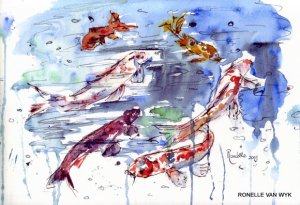 Ronelle van wyk- Koi fish in watercolor-004