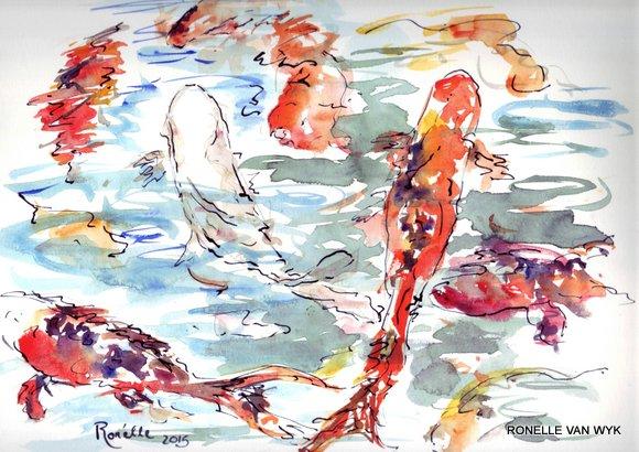 Ronelle van wyk- Koi fish in watercolor-005