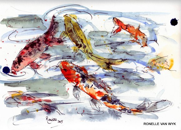 Ronelle van wyk- Koi fish in watercolor-006