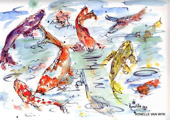 Ronelle van wyk- Koi fish in watercolor-007