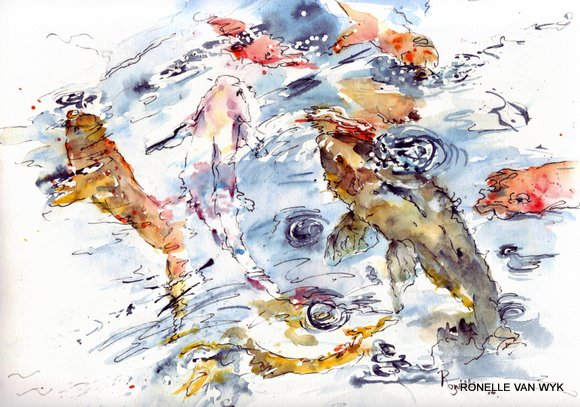 Ronelle van wyk- Koi fish in watercolor
