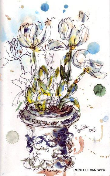 ronelle van Wyk - watercolors - sketching in the garden-001