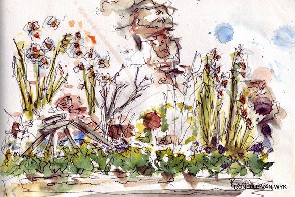 ronelle van Wyk - watercolors - sketching in the garden
