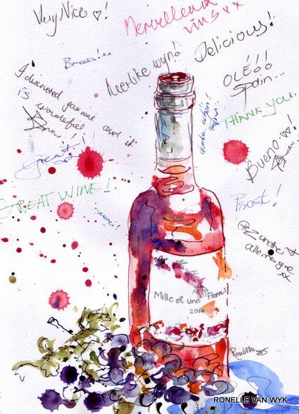 label on rose wine