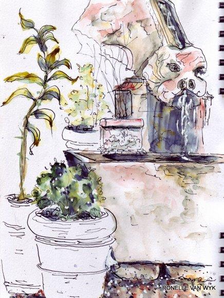 gargoyle and fontain