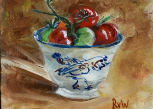 bowl and garden tomatoes